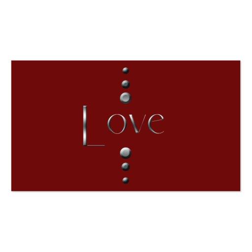 3 Dot Silver Block Love & Burgundy Background Business Cards