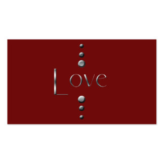 3 Dot Silver Block Love & Burgundy Background Pack Of Standard Business Cards
