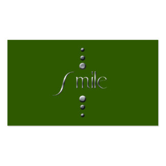 3 Dot Silver Block Smile & Green Background Pack Of Standard Business Cards