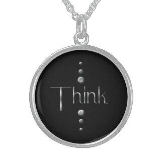 3 Dot Silver Block Think & Black Background Round Pendant Necklace