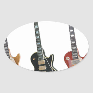 3 ELECTRIC GUITARS OVAL STICKER