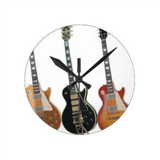 3 ELECTRIC GUITARS RETRO ROUND CLOCK