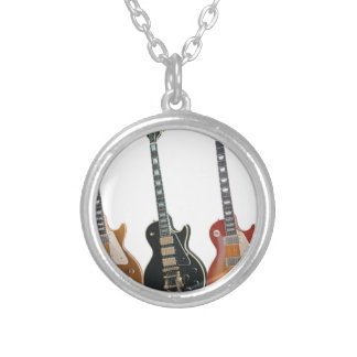 3 ELECTRIC GUITARS RETRO SILVER PLATED NECKLACE