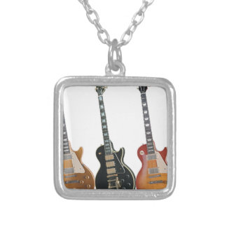3 ELECTRIC GUITARS SILVER PLATED NECKLACE