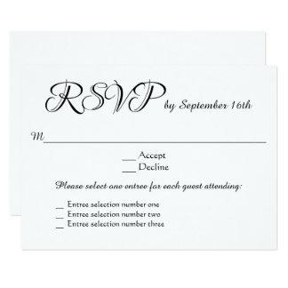 3 Entree Menu Choices Wedding RSVP Response Reply Card
