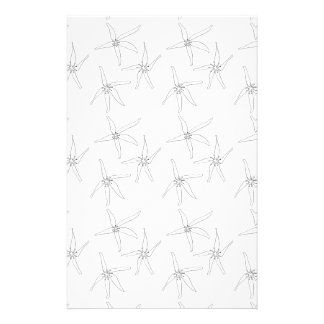 3 flowers black and white stationery