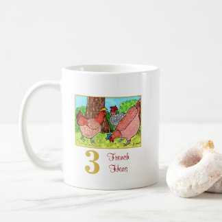 3 French Hens Cute Birds & Typography Coffee Mug