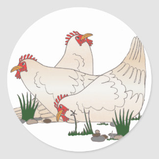 3 French Hens Round Sticker