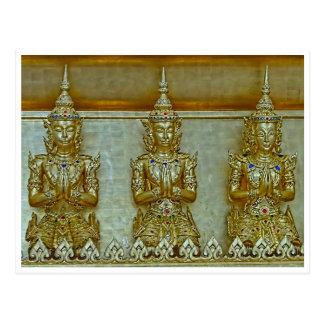 3 Gold Statues Postcard