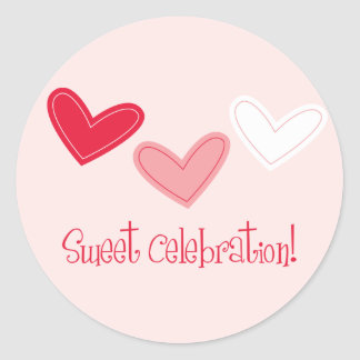 3 Heart Sweet Celebration Classic Round Sticker