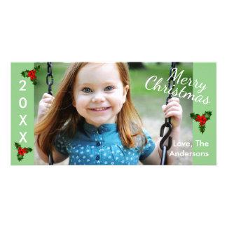 3 Holly Green Merry Christmas-Christmas Photo Card