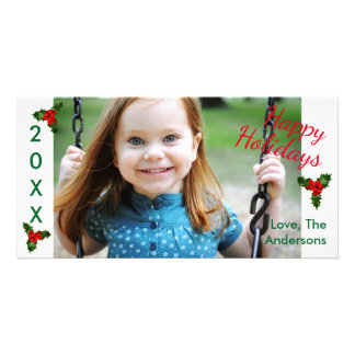 3 Holly Happy Holidays - Christmas Photo Card