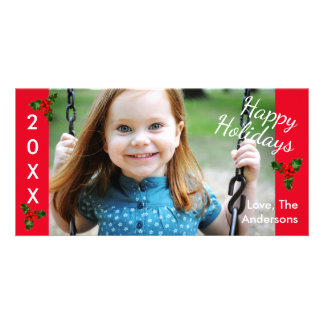 3 Holly Red Happy Holidays -Christmas Photo Card