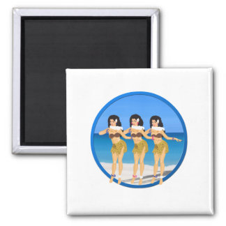 3 Hulas on beach Magnet