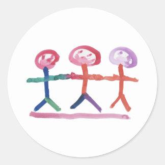 3 Human Beings Round Sticker
