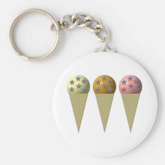 3 ice cream cones: Vanilla, chocolate & strawberry Basic Round Button Key Ring