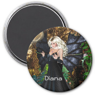 3 Inch Round Magnet; Fairy Collection: Diana 7.5 Cm Round Magnet