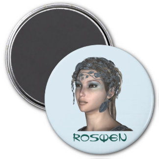 3 Inch Round Magnet; Fairy Collection: Roswen Magnet
