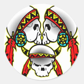 3 Indian Skulls Classic Round Sticker