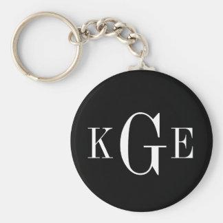 3 initial monogram black white groomsmen key fob basic round button key ring