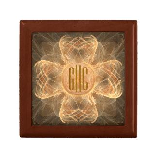 3-initial Monogram Brown 4 Leaf Clover Jewelry Box