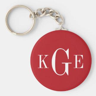 3 initial monogram red white groomsmen key fob keychains