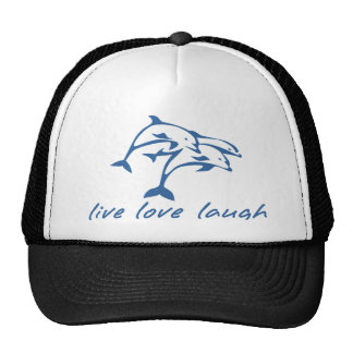 3 jumping dolphins live love laugh hats