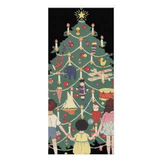 3 Kids and A Christmas Tree - Vintage Illustration Customized Rack Card