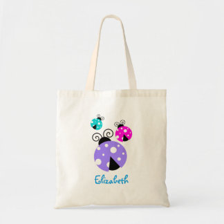 3 Ladybugs in Purple Pink and Blue Personalized