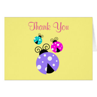 3 Ladybugs in Purple Pink and Blue Thank You Note Card