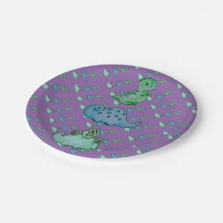 3 Little Dinos Paper Plate