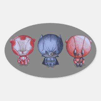 3 Little Heroes Oval Sticker