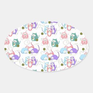 3 Little Kittens Knitting! Oval Sticker