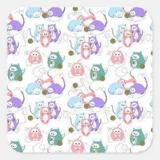3 Little Kittens Knitting! Square Sticker
