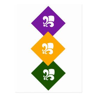 3 Mardi Gras Colored Boxes w/Fleur de Lis Postcard