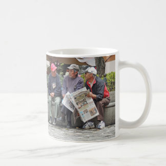 3 Men Talking in the Plaza in Cuenca Ecuador Coffee Mug