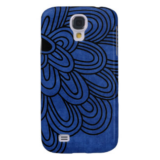 3 - Mod Black Blue Flower Galaxy S4 Covers