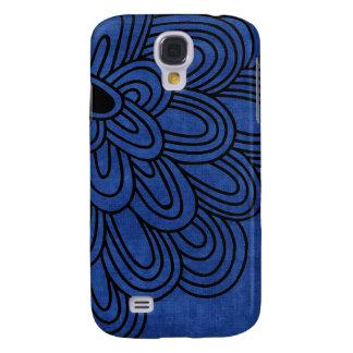 3 - Mod Black & Blue Flower Galaxy S4 Covers