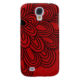3 - Mod Black & Red Flower Galaxy S4 Covers