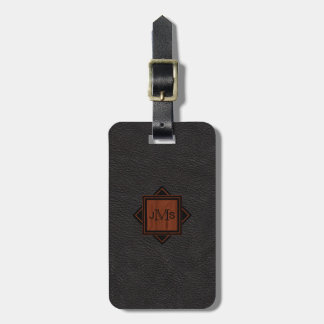 3 Modern Monogrammed Initials | Wood Black Leather Luggage Tag