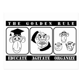 3 monkeys educate agitate organize postcard