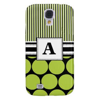 3 -Monogram Green Polka Dots Galaxy S4 Cases