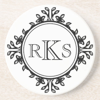 3 monogram royal letter black white leaf border coaster