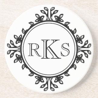3 monogram royal letter black white leaf border coasters