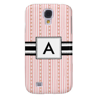 3 -Monogrammed Mod Pink Stripes Samsung Galaxy S4 Case