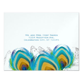 3 Musical Peacock Feathers RSVP Postcard
