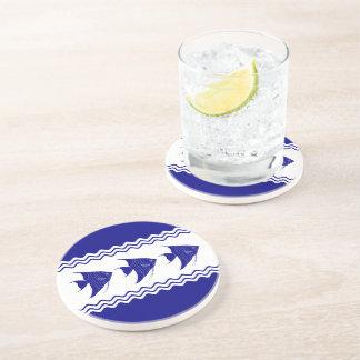 3 Navy Blue And White Coastal Decor Angelfish Beverage Coasters