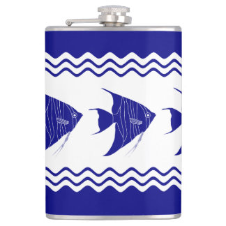 3 Navy Blue And White Coastal Decor Angelfish Hip Flask