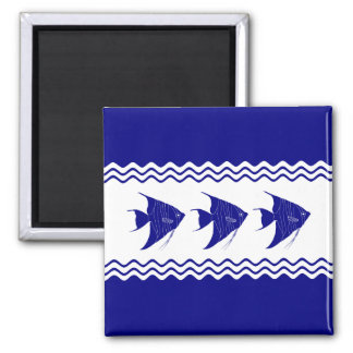 3 Navy Blue And White Coastal Decor Angelfish Square Magnet