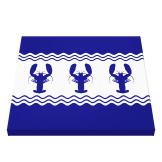 3 Navy Blue And White Coastal Decor Lobsters Stretched Canvas Prints